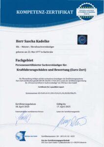 Ausgezeichnet - Personenzertifizierter Sachverständiger für Kraftfahrzeug- schäden und Bewertung (Euro-Zert)